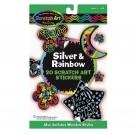 Silver and Rainbow Scratch Art Stickers - Original