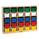 25 Cubby Tray Cabinet with Colored Bins