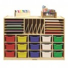 Multi-Section Storage Cabinet with Colored Bins