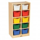 10 Cubby Tray Cabinet with Colored Bins