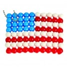 Magic Beads American Flag Key-Chain / Aqua Beads